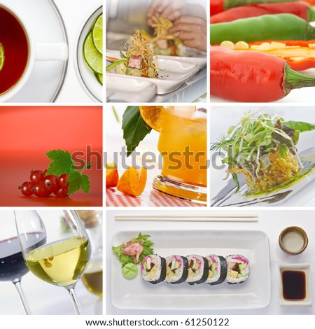 food and drink theme collage composed of  few omages - stock photo