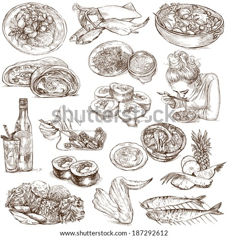 Food and Drinks around the World (set no. 5) - Collection of an hand drawn illustrations. Description: Full sized hand drawn illustrations drawing on white background. - stock photo