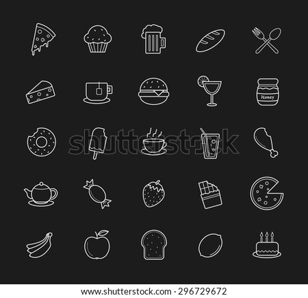 Food and drinks linear icons set. Raster line art symbols isolated on blackboard