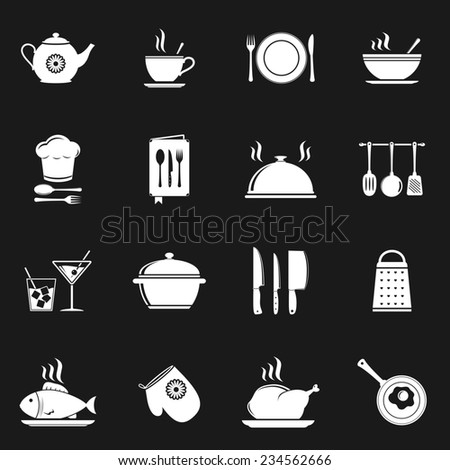 Food and kitchen icons  - stock photo