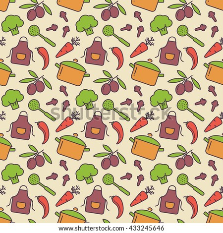 Food and kitchen seamless pattern. Cute background with colorful icons for culinary theme. Raster illustration. - stock photo
