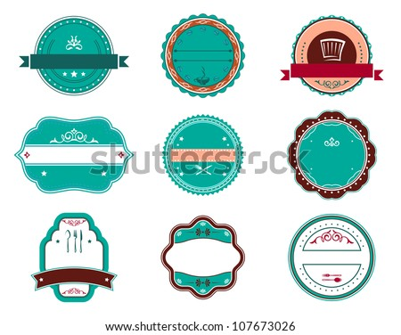 Food and restaurant labels set for fast food design. Vector version also available in gallery - stock photo