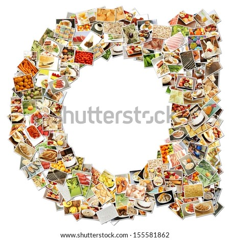 Food Art A Lowercase Shape Collage Abstract - stock photo