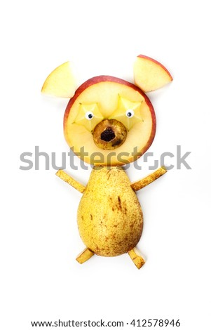 Food art creative concepts. Funny bear made of pear, apple, star fruit and raisin isolated on white background. - stock photo