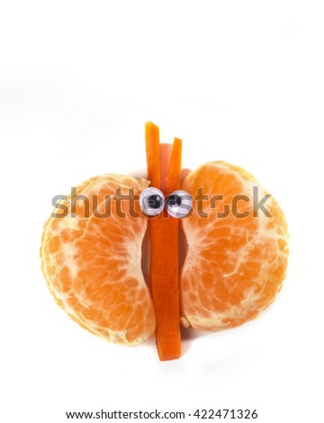 Food art creative concepts. Funny butterfly made of tangerine orange and carrots.
