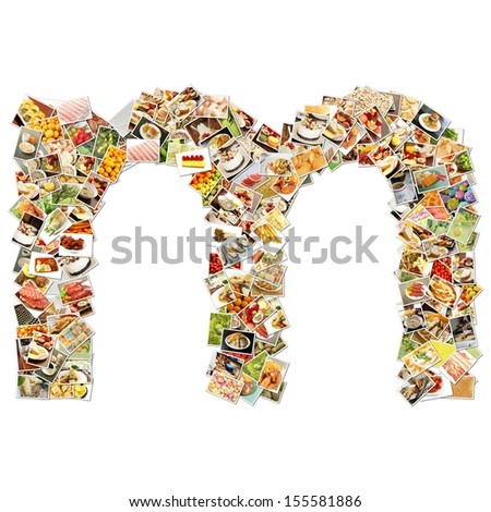 Food Art M Lowercase Shape Collage Abstract - stock photo