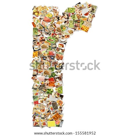 Food Art R Lowercase Shape Collage Abstract - stock photo