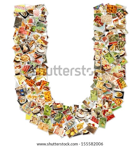 Food Art U Lowercase Shape Collage Abstract - stock photo