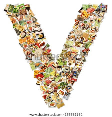 Food Art V Lowercase Shape Collage Abstract - stock photo