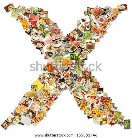 Food Art X Lowercase Shape Collage Abstract - stock photo