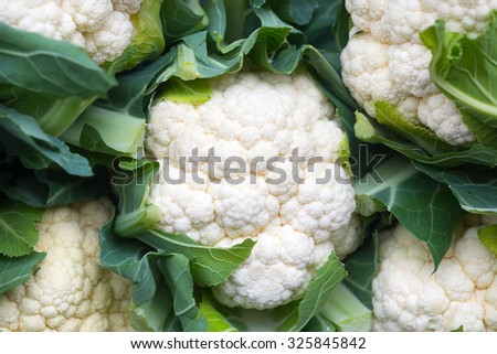 Food background, cauliflower at a local market - stock photo