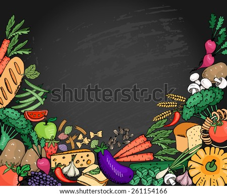 Food background vegetables and fruit, cheese and bread for italian menu with space for text - stock photo