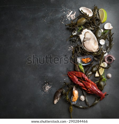 Food background with seafood, selective focus - stock photo