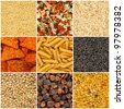 Food backgrounds. Rice, pasta, lentils, millet, dried vegetables, tea, noodles, chips, raisins. - stock photo