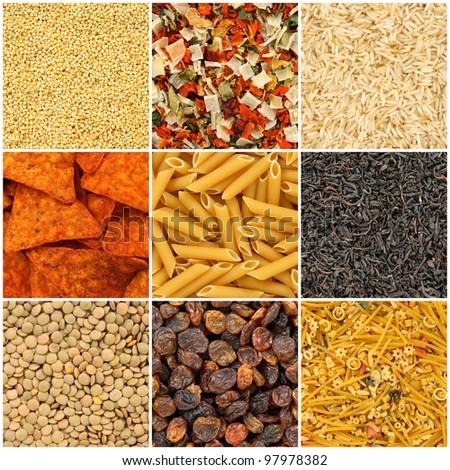 Food backgrounds. Rice, pasta, lentils, millet, dried vegetables, tea, noodles, chips, raisins. - stock photo