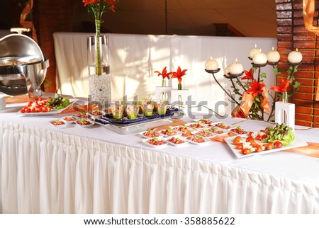 Beautiful dessert table restaurant stock photo 526053721 for Appetizer decoration