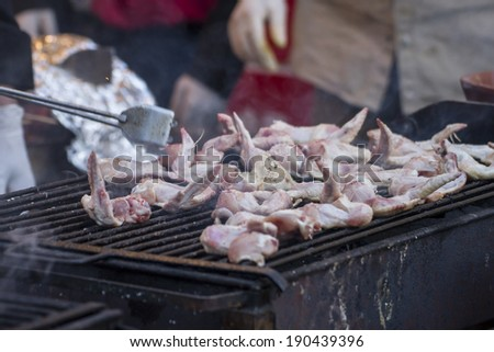 food, barbecue with sausages and lamb in a medieval fair, Spain - stock photo