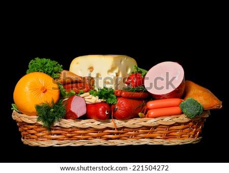 food basket on black - stock photo