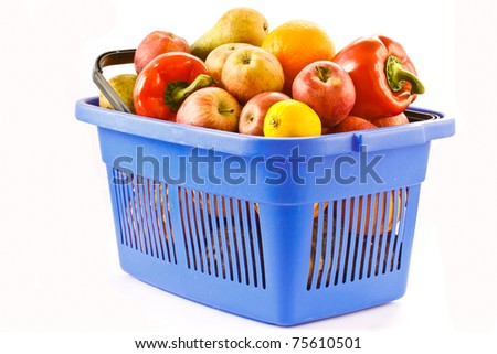 food basket with fruits and vegetables isolated on a white background