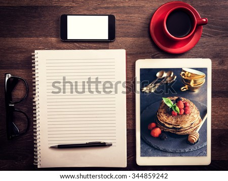 Food blog concept for recipes with photo of buckwheat pancakes  - stock photo