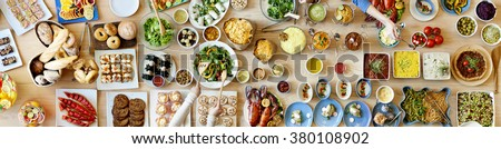 Food Buffet Catering Dining Eating Party Sharing Concept - stock photo