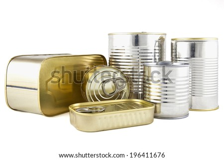 Food canned in metal cans - stock photo