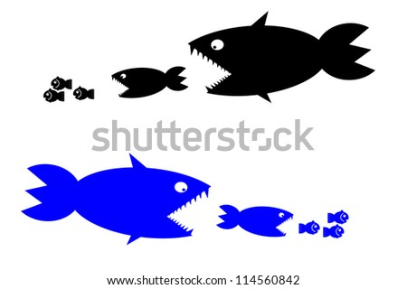 food chain, a small fish is food for big fish,metaphorical. - stock photo