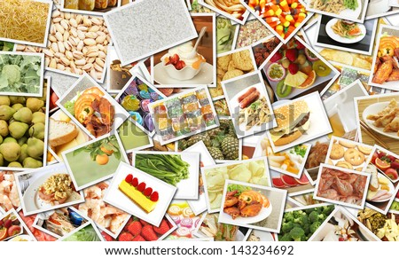 Food Collage for Catering Business Concept Art - stock photo
