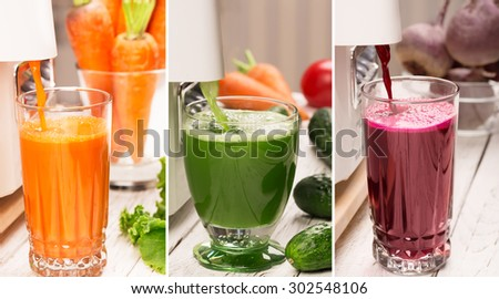 Food collage from photos of different vegetables - stock photo