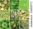 Food collage including 9 pictures of green vegetables - stock photo