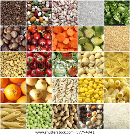 Food collage including pictures of vegetables fruit pasta and more - stock photo