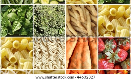 Food collage including pictures of vegetables, fruit, pasta and more - (16:9 ratio) - stock photo