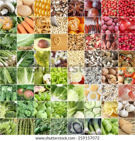 Food collage with color scheme from green to red - stock photo