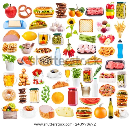 Food collection isolated on white background  - stock photo