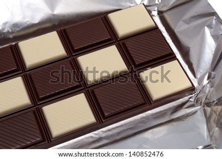 Food collection - Tile black and white chocolate, shallow dof. - stock photo