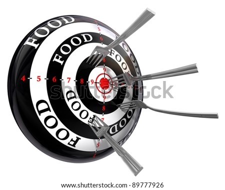 food concept target with metal forks isolated on white background