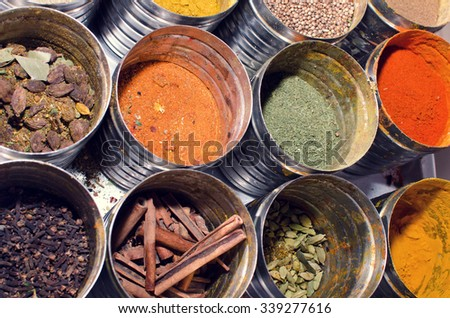 Food condiments in round dishes. - stock photo