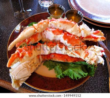 food crab of legs ,alaska food - stock photo