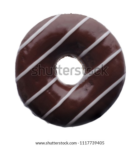 Food: dark chocolate donut, isolated on white background