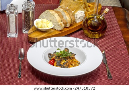 Food. Delicious roast with pasta, meat, vegetables and seasonings restaurant as a template for the menu background. Different points of focus and perspective - stock photo