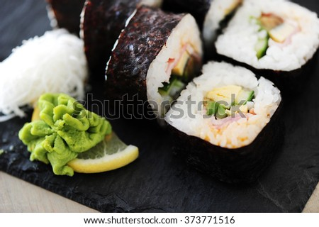 Food. Delicious sushi on the table - stock photo
