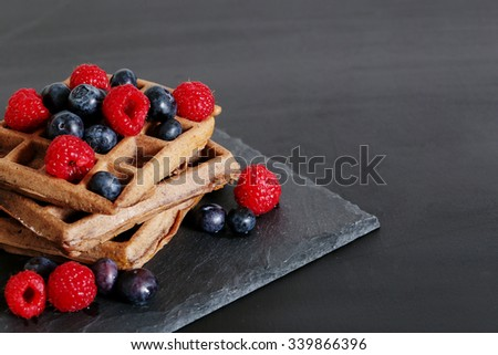 Food. Delicious waffle on the table - stock photo
