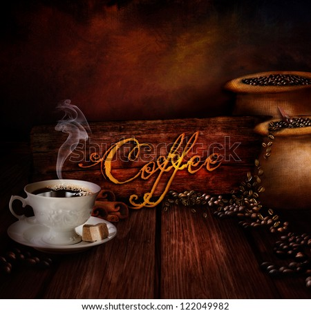 Food design - Coffee warehouse. Coffee cup with black coffee and sacks of coffee in the background. Coffee type on wooden background. - stock photo