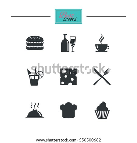 Food, drink icons. Coffee and hamburger signs. Cocktail, cheese and cupcake symbols. Black flat icons. Classic design.