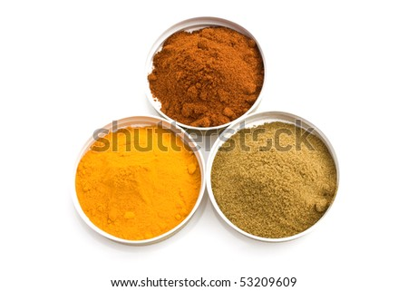 Food & Drinks - Spices: turmeric, cumin and sweet paprika. - stock photo