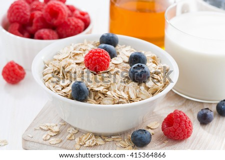 Food for a healthy breakfast, close-up, horizontal