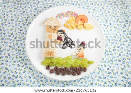 Food for children, prince and princess  - stock photo