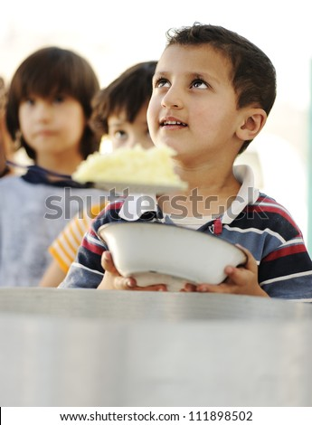 Food for hungry poor children - stock photo