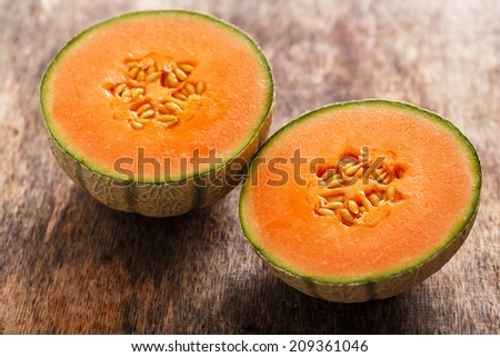 Food, fresh. Melon on the table - stock photo