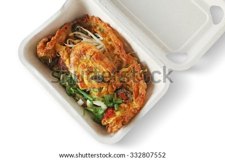 Food, fried oysters, fried foods, white foam background, Thailand. - stock photo